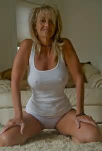 Perfect Curvy Milf in a Tight White Tank Top and panties.