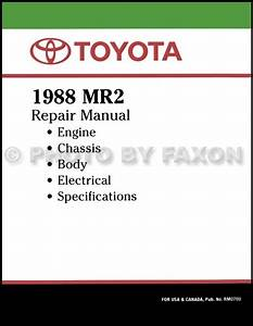 1988 Toyota Mr2 Repair Shop Manual Original