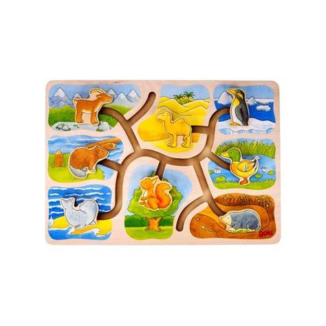 GOKI koka bīdāmā puzle - kas kur dzīvo? - IR OK
