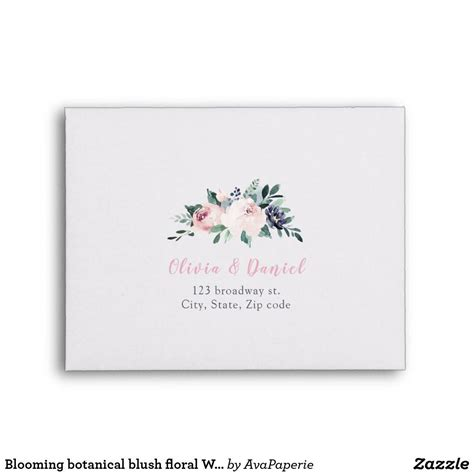 Blooming botanical blush floral Wedding RSVP Envelope