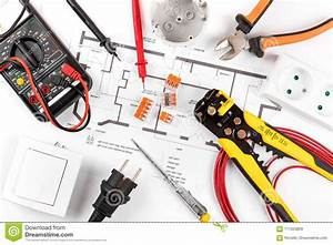 Electrical Tools And Equipment On Circuit Diagram Stock