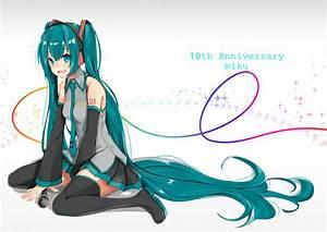 Aqua, Eyes, Hatsune, Miku, Headphones, Long, Hair, Microphone, Skirt, Thighhighs, Tie, Twintails, Vocaloid