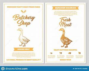 Butchery Shop Poster With Goose Meat Cutting Charts In
