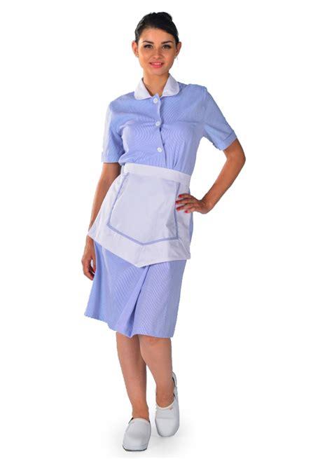 tenue de femme de chambre blouse femme de chambre à manches courtes bleu ciel carlton