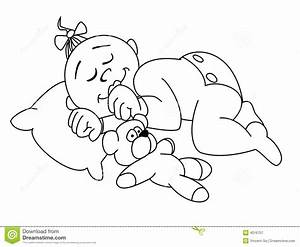 Baby Sleeping Clipart Black And White - ClipartXtras