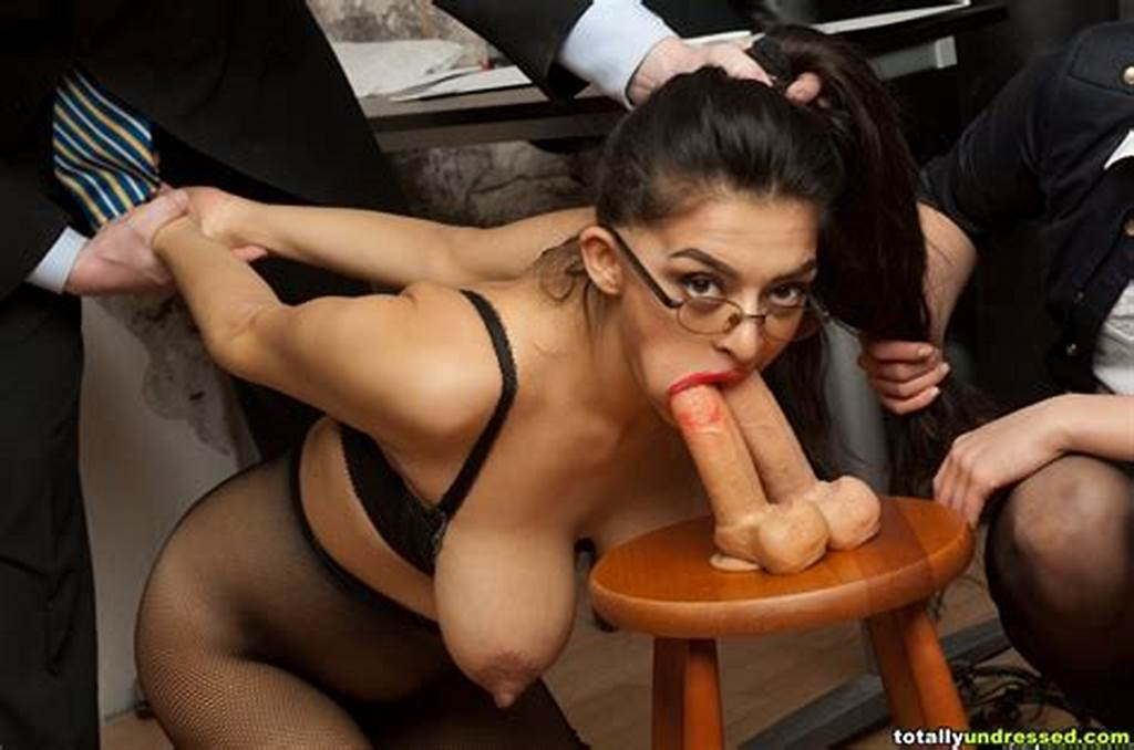 #Subdued #Interviewee #Masturbates #With #Two #Dildos