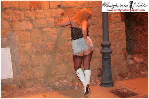 Babyface Hooker In Blacks Stockings Bra On The Street Prostitutes