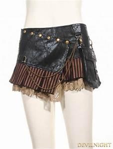 Black Steampunk Short Skirt With Waist Bag Devilnight Co Uk