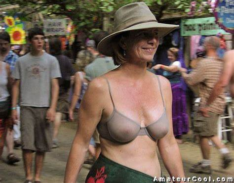 Classy Mature Tries Topless Public