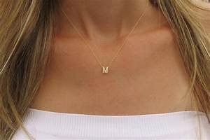 goldfilled initial necklace gold letter necklace tiny With gold choker with letters