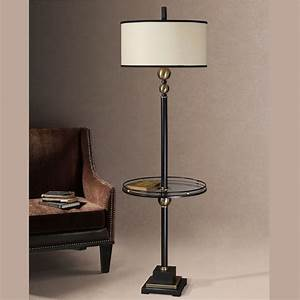 joaquin floor lamp with attached glass table With floor lamp with table makeover