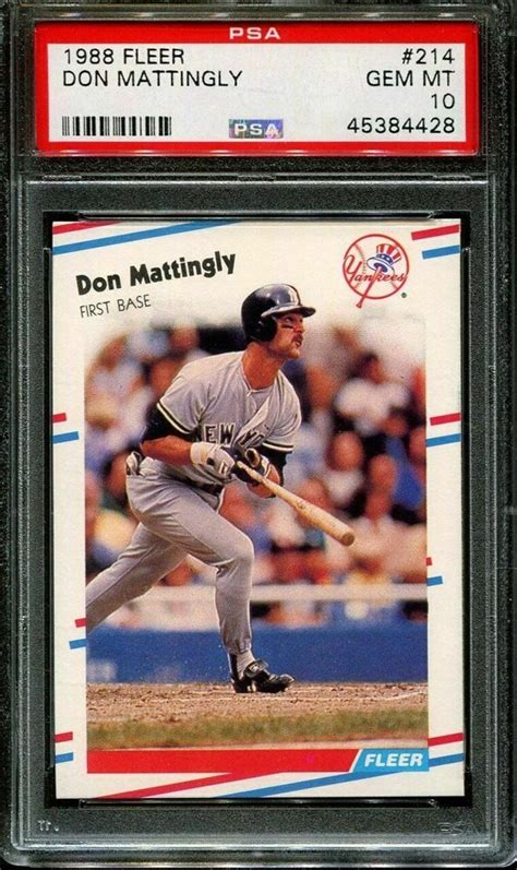 Baseball card grading is often the major factor in determining a baseball card's pricing. Auction Prices Realized Baseball Cards 1988 Fleer Don Mattingly