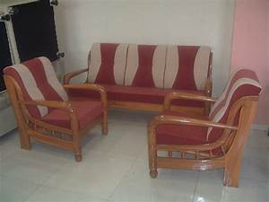 Wood sofa set with cushions wooden online india furniture for Cheap home furniture online india