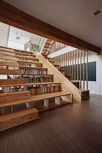 Bibliothèque Murale Bois : escalier biblioth que design pour optimiser l 39 espace ~ Premium-room.com Idées de Décoration