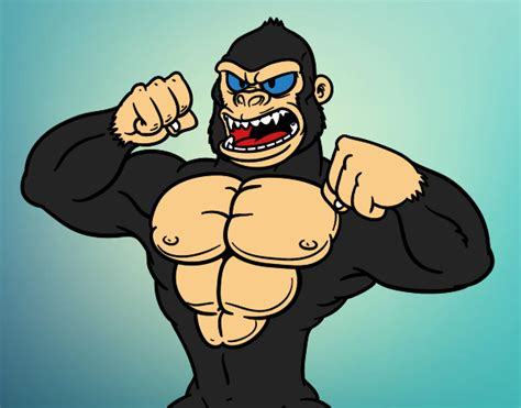 Desenho de Gorila forte pintado e colorido por Usuário não