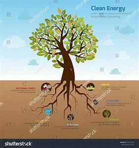 Illustration Tree And It U0026 39 S Wide Spread Root Representing Clean Energy In Flat Infographic