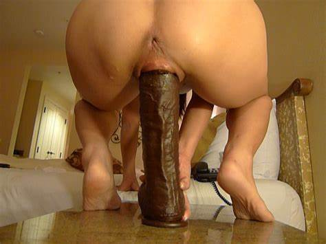 Pretty Slender Mature Forced Riding A Huge Dildo