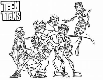 Titans Coloring Teen Pages Cartoon