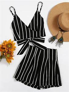 stripe surplice bow tie open back crop cami top with With vêtements de plage femme