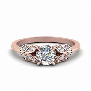 round cut vintage leaf diamond engagement ring in 14k rose With vintage round wedding rings