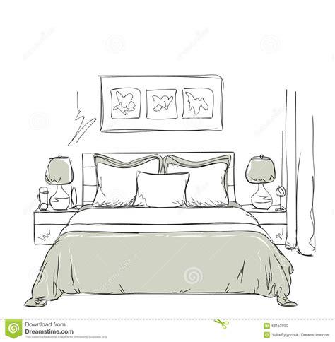 dessin de chambre dessin intérieur moderne de chambre à coucher illustration