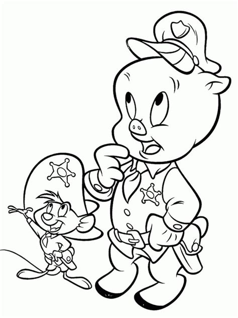 Download or print this amazing coloring page: Porky Pig Is