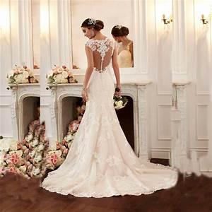 2016 sexy mermaid wedding dress vestido de noiva cap With de robe de mariée