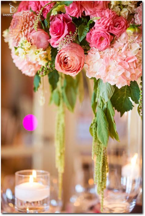 Romantic coral pink yellow green tall centerpiece Napa