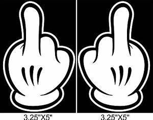 Disney Mickey Mouse MIDDLE FINGER Sticker Dope Signs