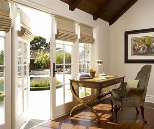Dining Room In Luxury Home With French Doors Stock Photo ...