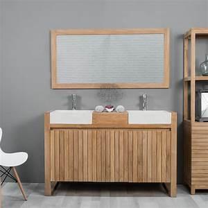 meuble sous vasque double vasque en bois teck massif With meuble salle de bain 1m50