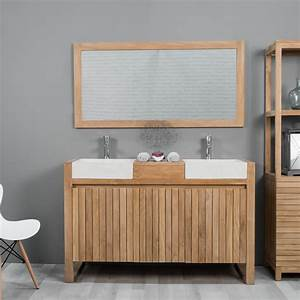 meuble sous vasque double vasque en bois teck massif With meuble salle de bain ecologique