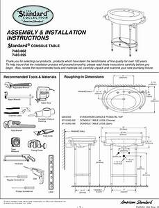American Standard Console Table 7483 002 Users Manual