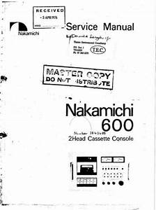 Nakamichi 600 Original Service Manual