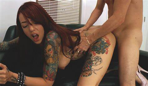 Tattooed Teenage Fit Whore Licked Dildo
