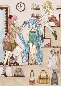 Hatsune, Miku, Kagamine, Rin, And, Megurine, Luka, Vocaloid, Drawn, By, Yuu, Higashi, No, Penguin