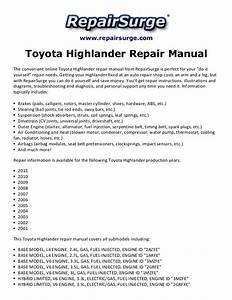 Toyota Highlander Repair Manual 2001 2011