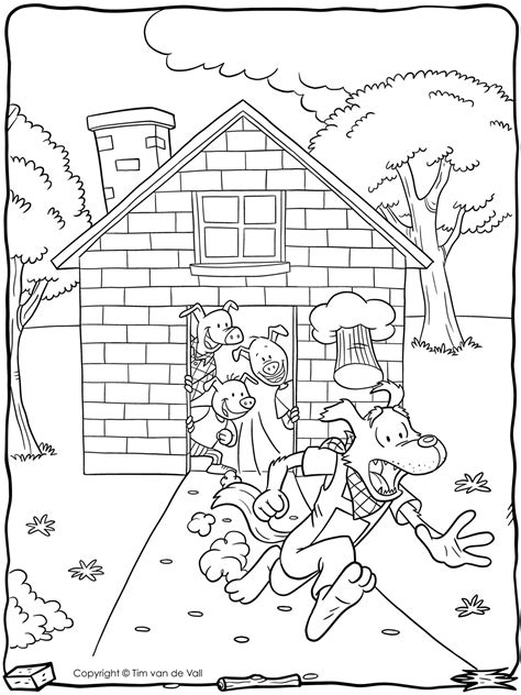 Three Little Pigs Coloring Page Tim van de Vall