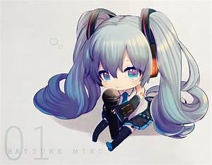 Aqua, Eyes, Aqua, Hair, Blush, Chibi, Harano, Hatsune, Miku, Headphones, Kyama, Long, Hair, Microphone, Skirt