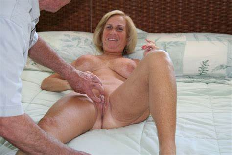 Perverse Granny Takes It All In Her Shaved Ass