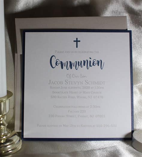 First Holy Communion Invitation Boy Navy Christening