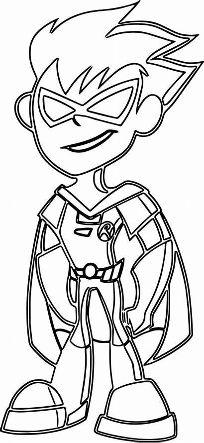 Ausmalbilder Titans Teen Coloring Robin Outline Teenager