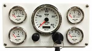 White Yanmar Marine Engine Instrument Panel  White Gauges