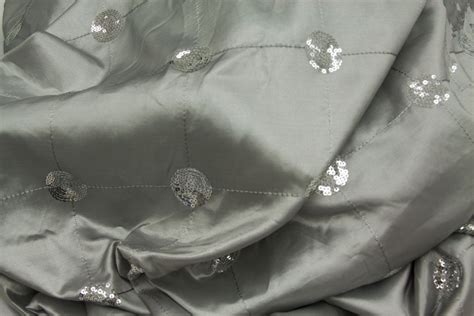 40 yards Sequins Embroidery Taffeta Fabric Bolt Silver