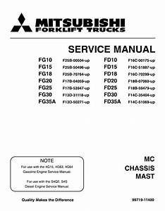 Mitsubishi Fd25 Forklift Trucks Service Repair Manual Sn F18b-60677 By 1634887