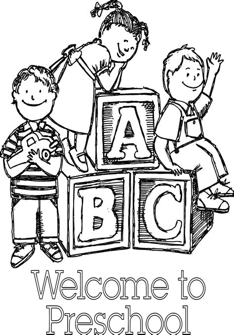 Welcome To Preschool Sketch Coloring Page Wecoloringpage