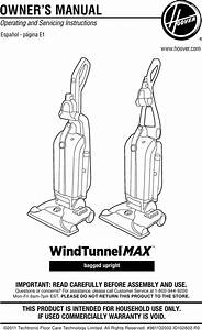 Hoover Uh30600 Windtunnel Max Bagged Upright Owners Manual