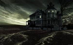 Wallpaper Haunted house under dark sky
