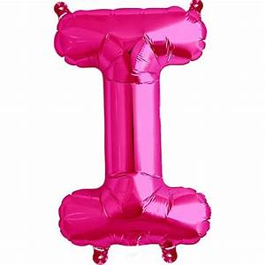 magenta foil balloon letter i 16quot 40cm partyramacouk With hot pink letter balloons