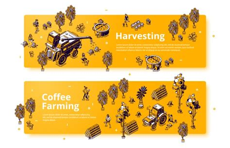 Gograph allows you to download affordable illustrations and eps vector clip art. Free Vector | Coffee farming and harvesting isometric banners, farmers working on field care of ...